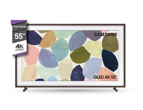 """TV FRAME 55"""" QLED 4K + Marco Marrón"""